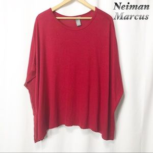 Norman Marcus- Red oversized Box Top sheer trim M